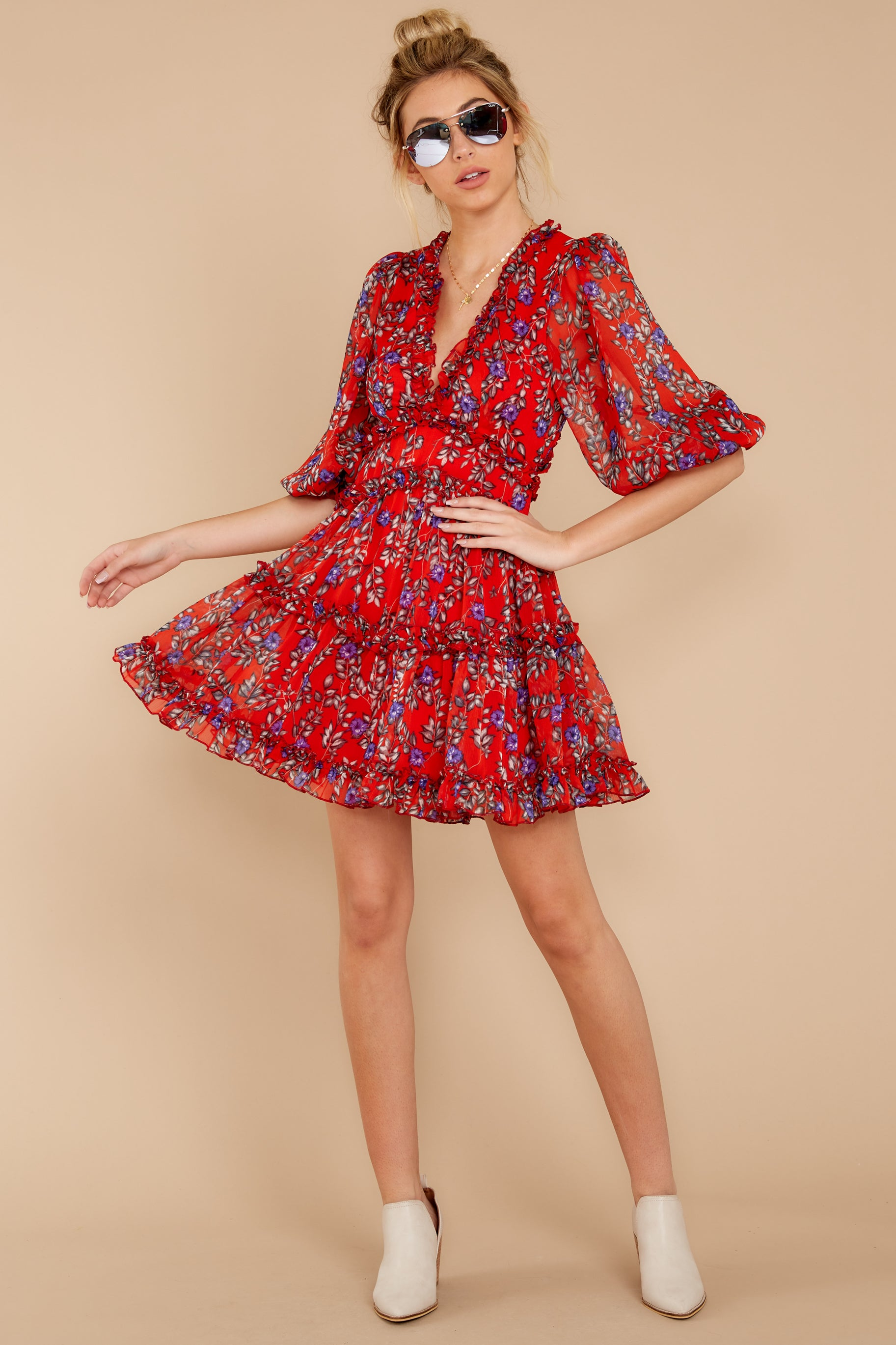 4 I'll Always Stay Red Floral Print Dress at reddressboutique.com