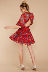 5 I'll Always Stay Red Floral Print Dress at reddressboutique.com