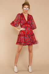 1 I'll Always Stay Red Floral Print Dress at reddressboutique.com