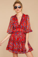 6 I'll Always Stay Red Floral Print Dress at reddressboutique.com