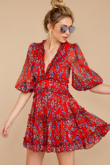 7 I'll Always Stay Red Floral Print Dress at reddressboutique.com