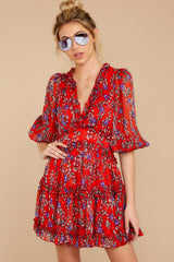 8 I'll Always Stay Red Floral Print Dress at reddressboutique.com