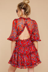 9 I'll Always Stay Red Floral Print Dress at reddressboutique.com