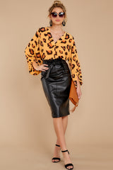 6 Bold Moves Black Vegan Leather Pencil Skirt at reddress.com