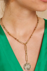 1 C'est La Vie Gold Lariat Necklace at reddressboutique.com