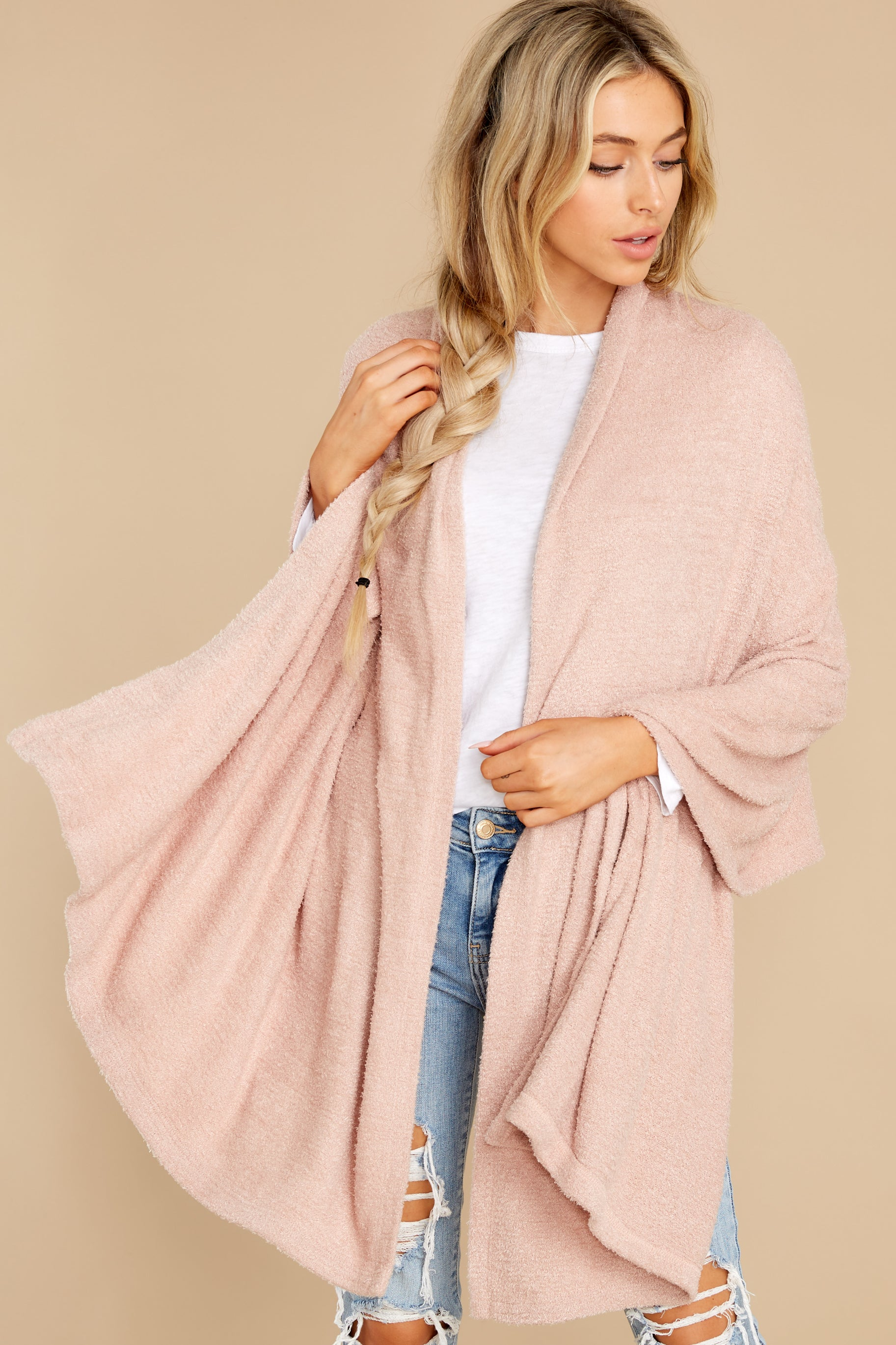 4 Kinsey Silver Pink Feather Wrap at reddress.com