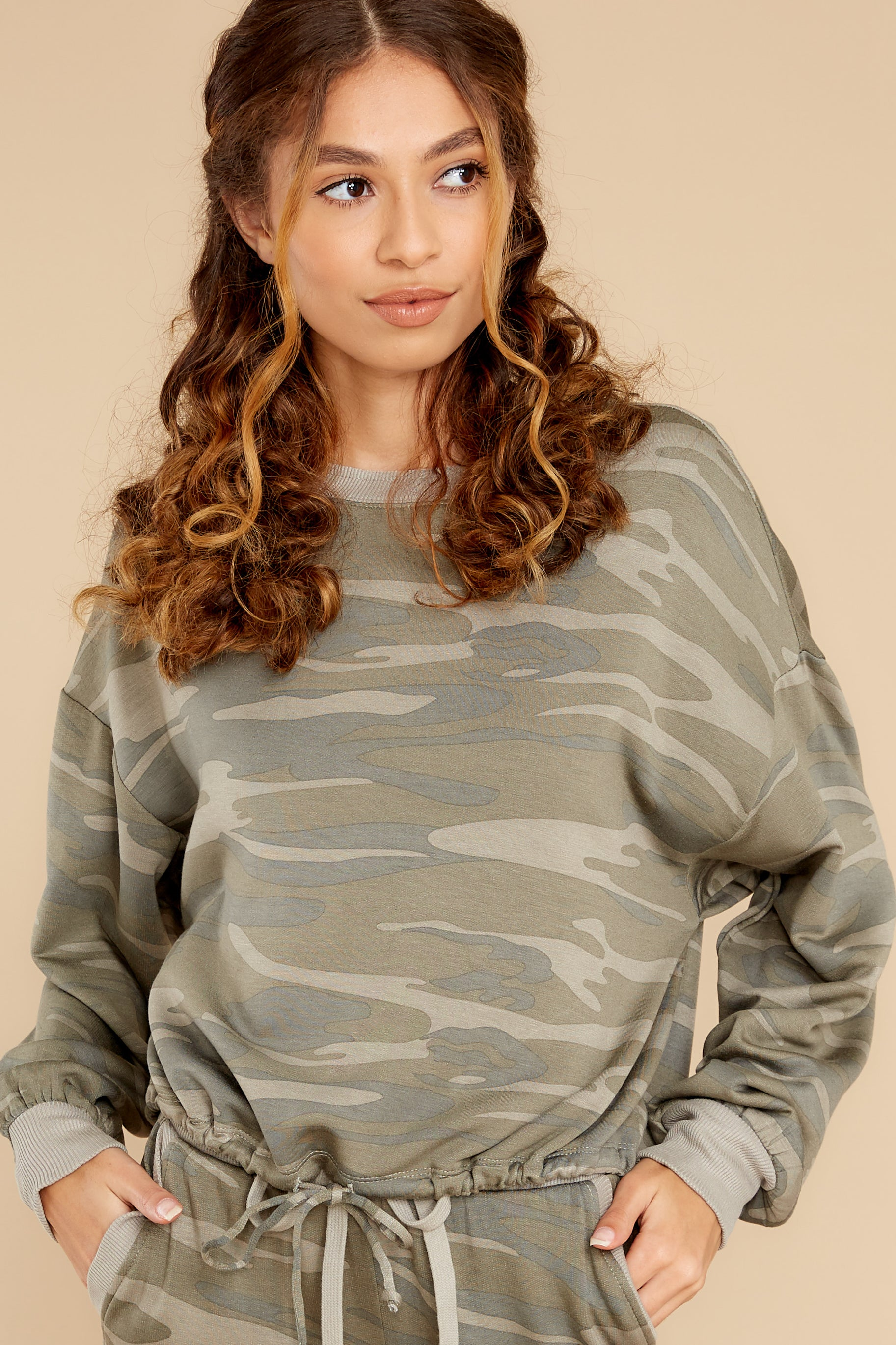 1 Sayde Camo Green Crew Pullover at reddress.com