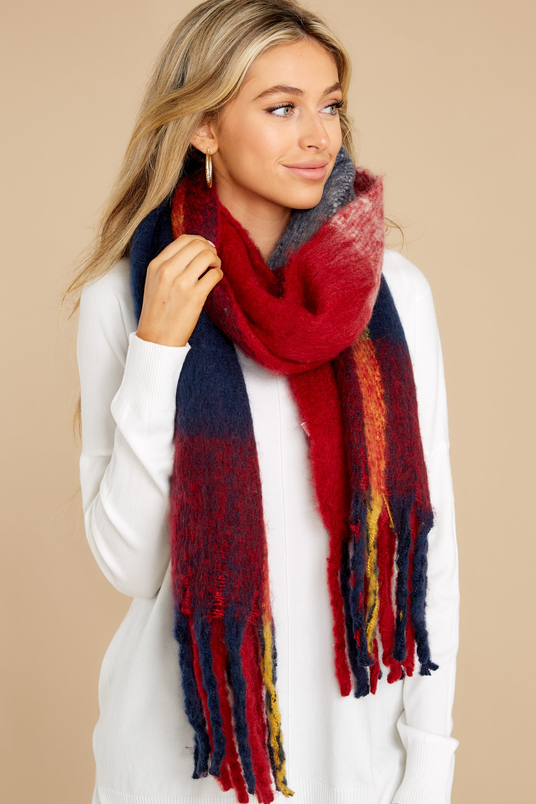 2 Wrapped In Warmth Red Multi Scarf at reddress.com