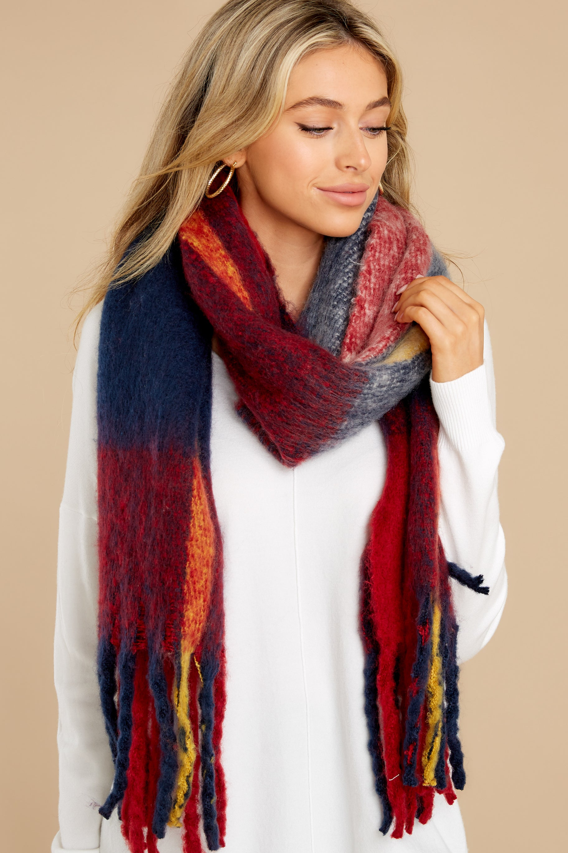 1 Wrapped In Warmth Red Multi Scarf at reddress.com