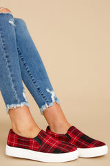 1 Go The Distance Red Plaid Slip On Sneakers at reddress.com