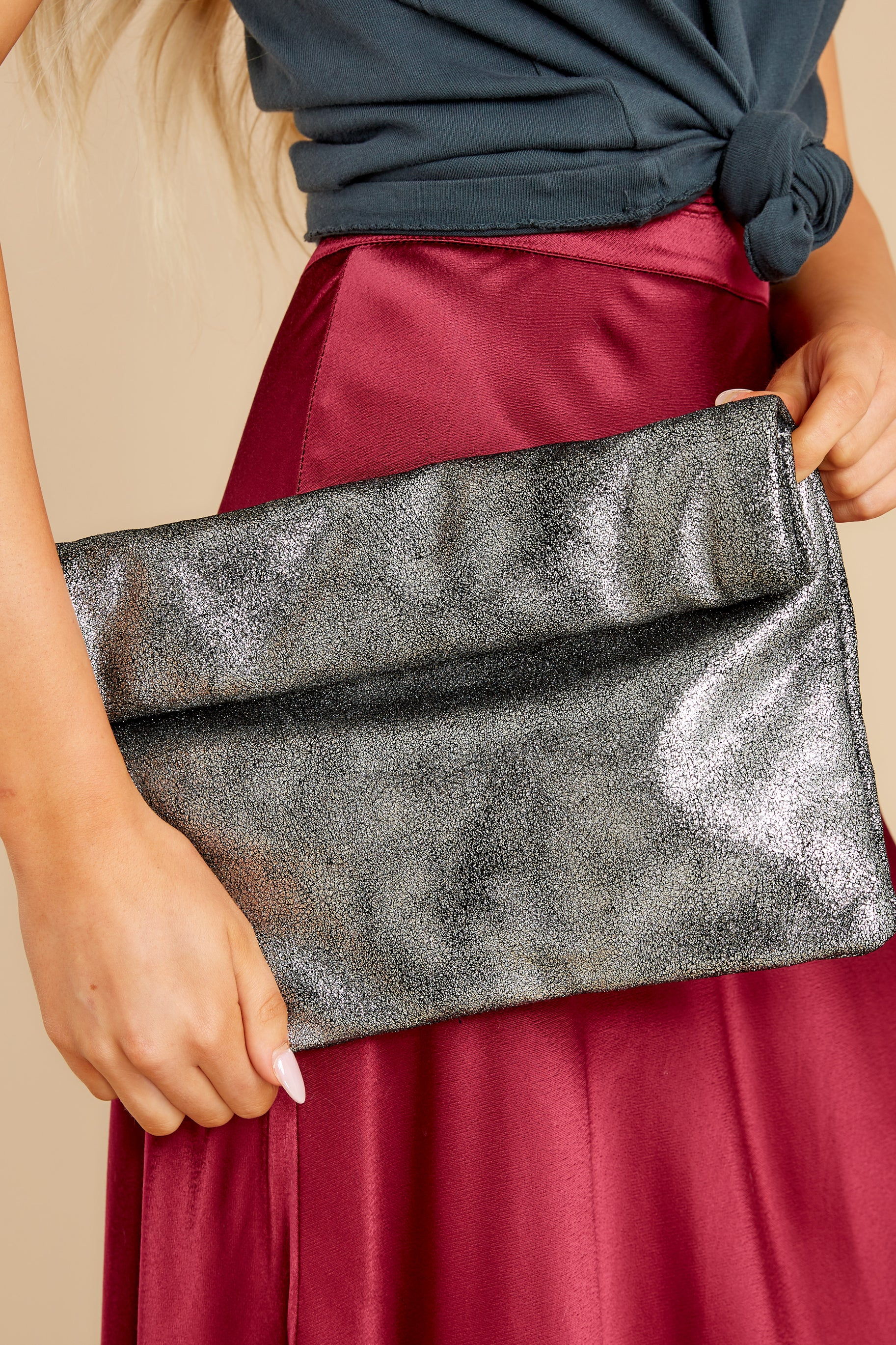 1 Putting In The Work Metallic Silver Clutch at reddress.com