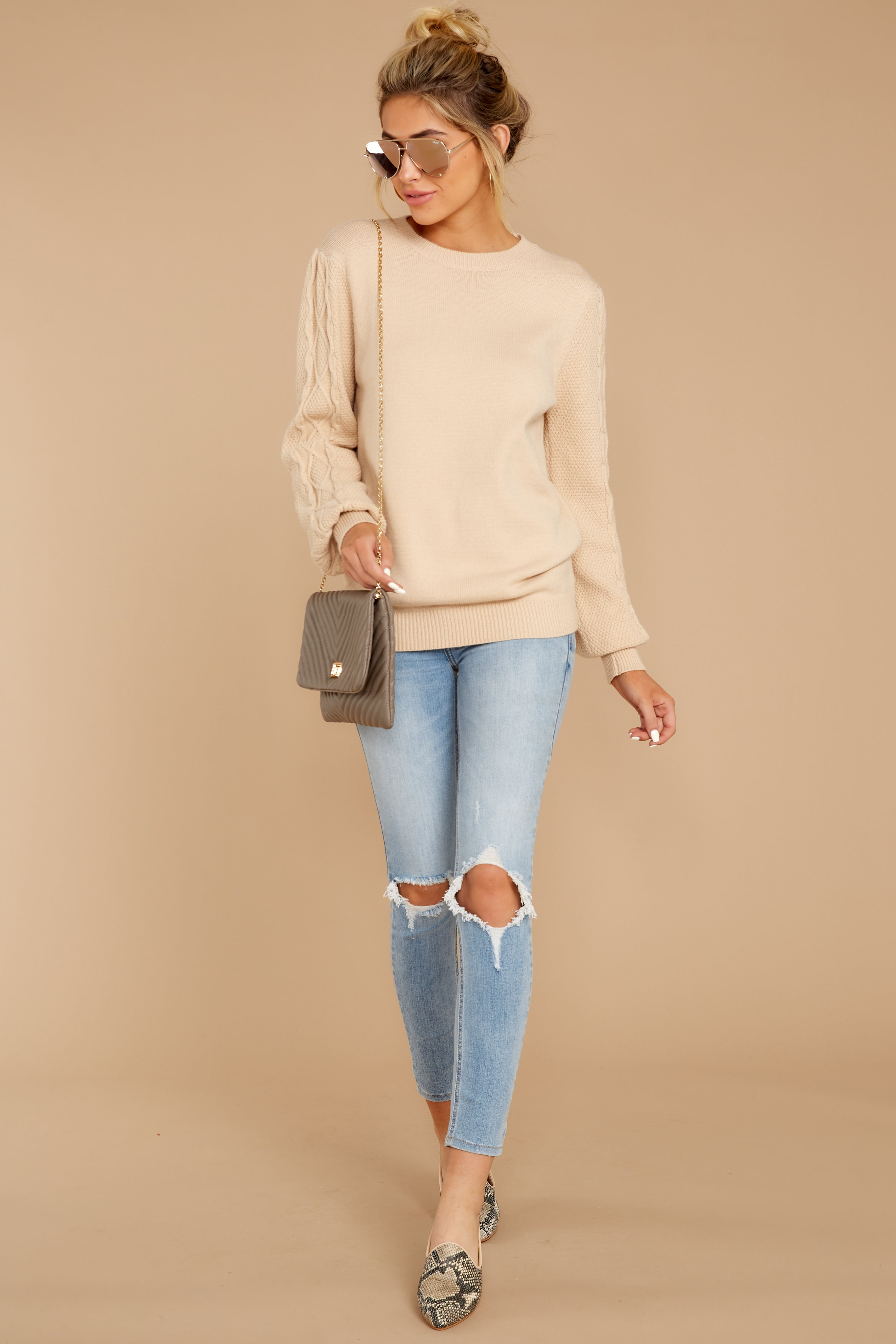 2 Wandering Through Winter Taupe Sweater at reddressboutique.com