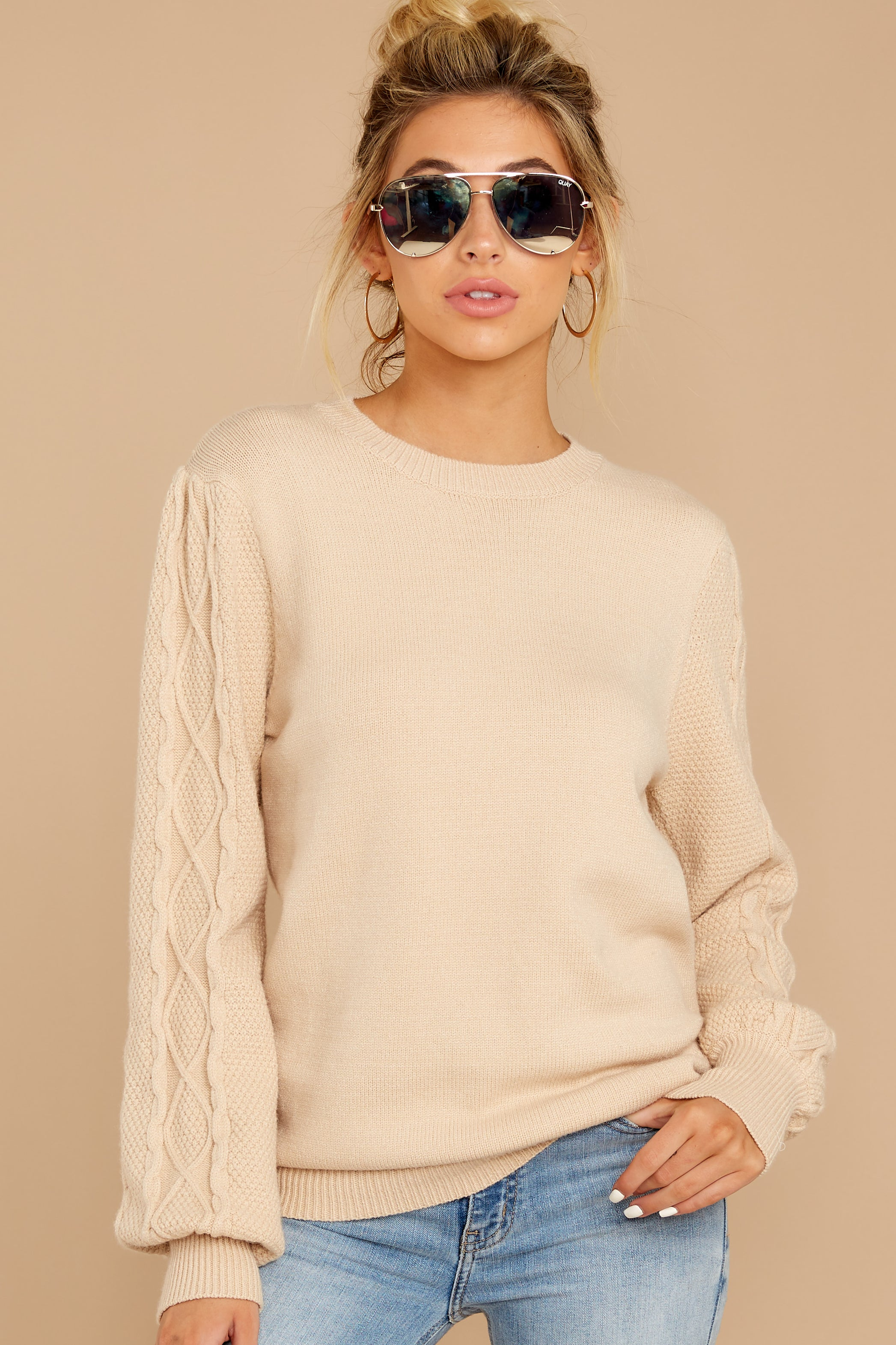 5 Wandering Through Winter Taupe Sweater at reddressboutique.com