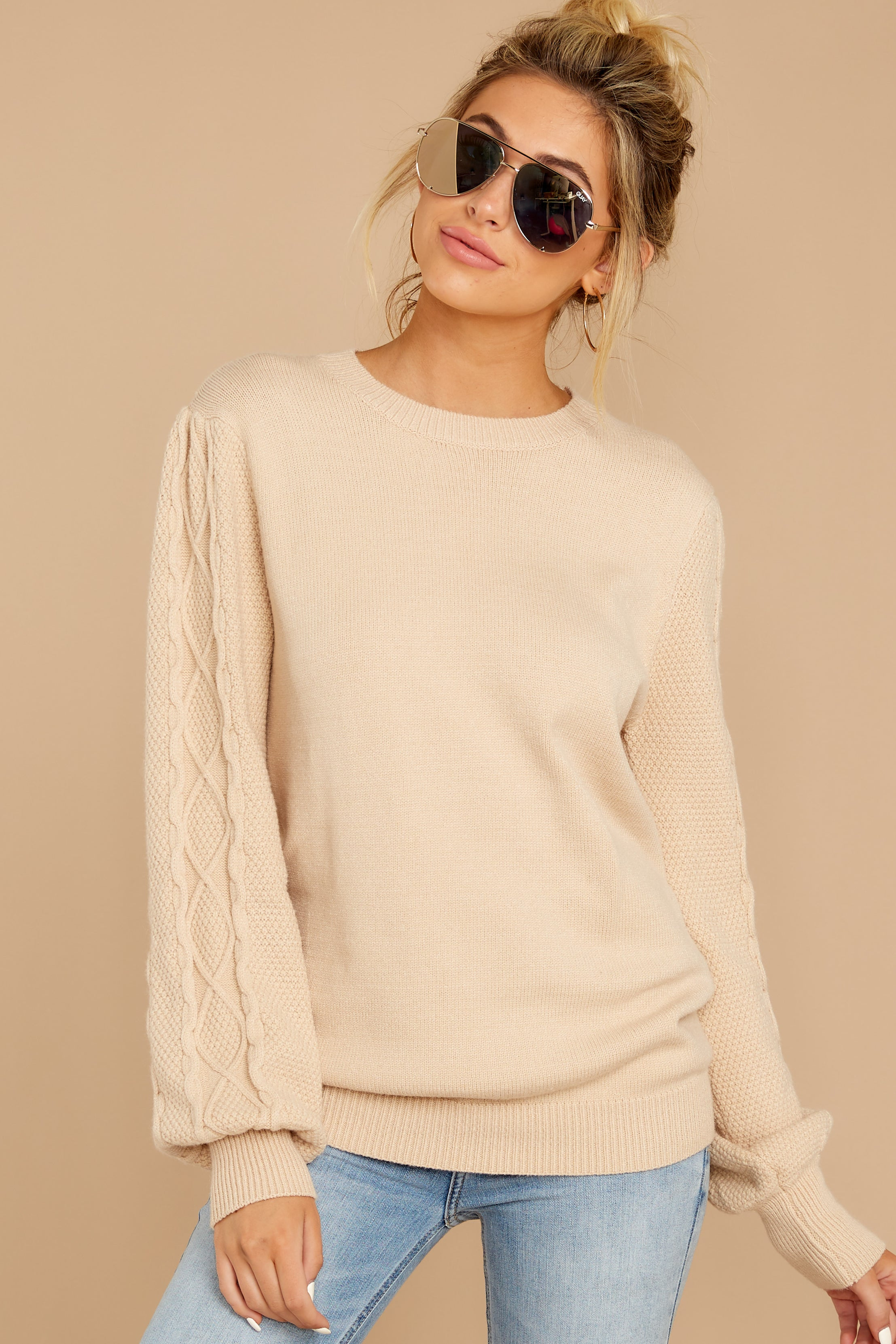 7 Wandering Through Winter Taupe Sweater at reddressboutique.com
