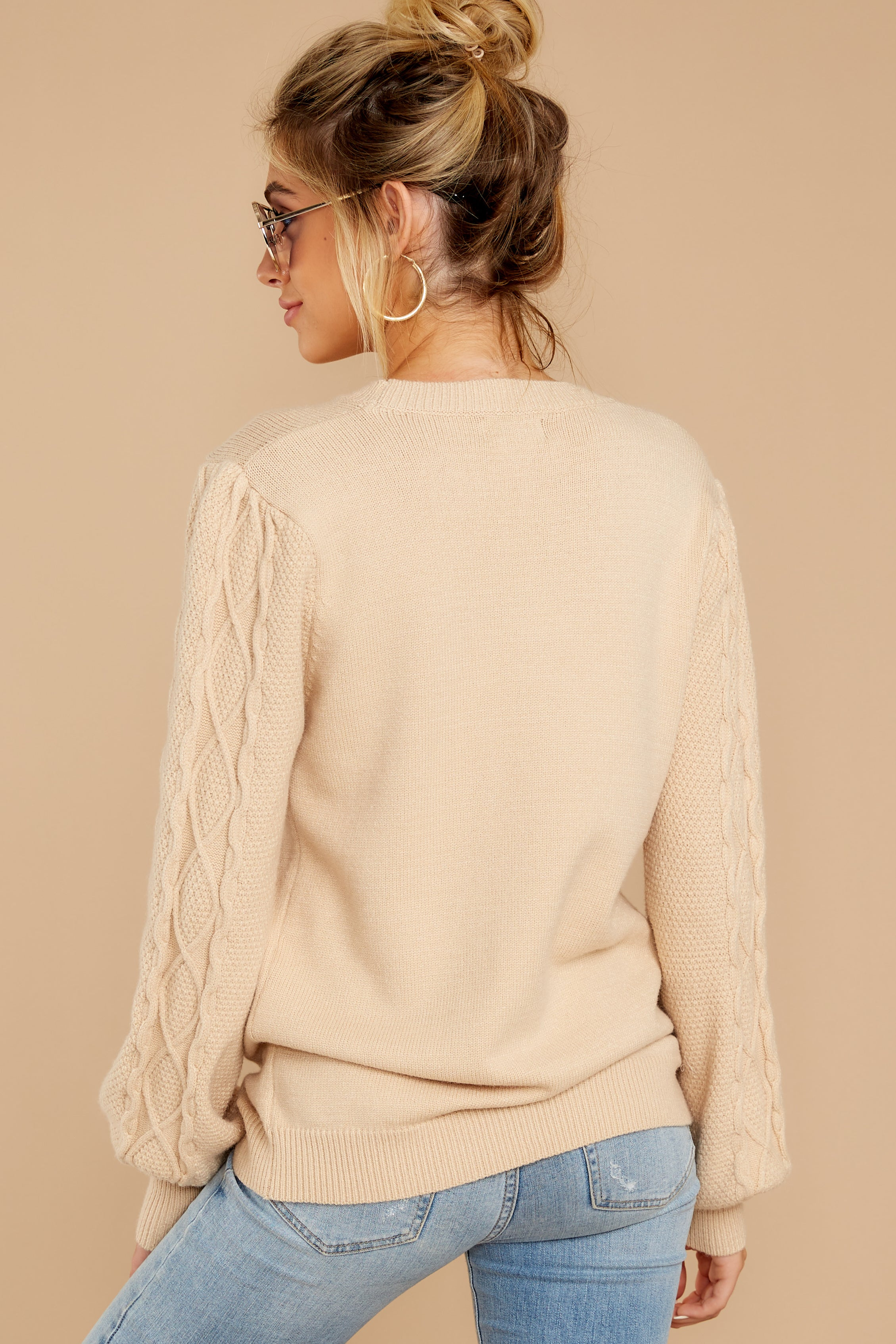 8 Wandering Through Winter Taupe Sweater at reddressboutique.com