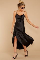 3 See You Tonight Black Midi Slip Dress at reddressboutique.com