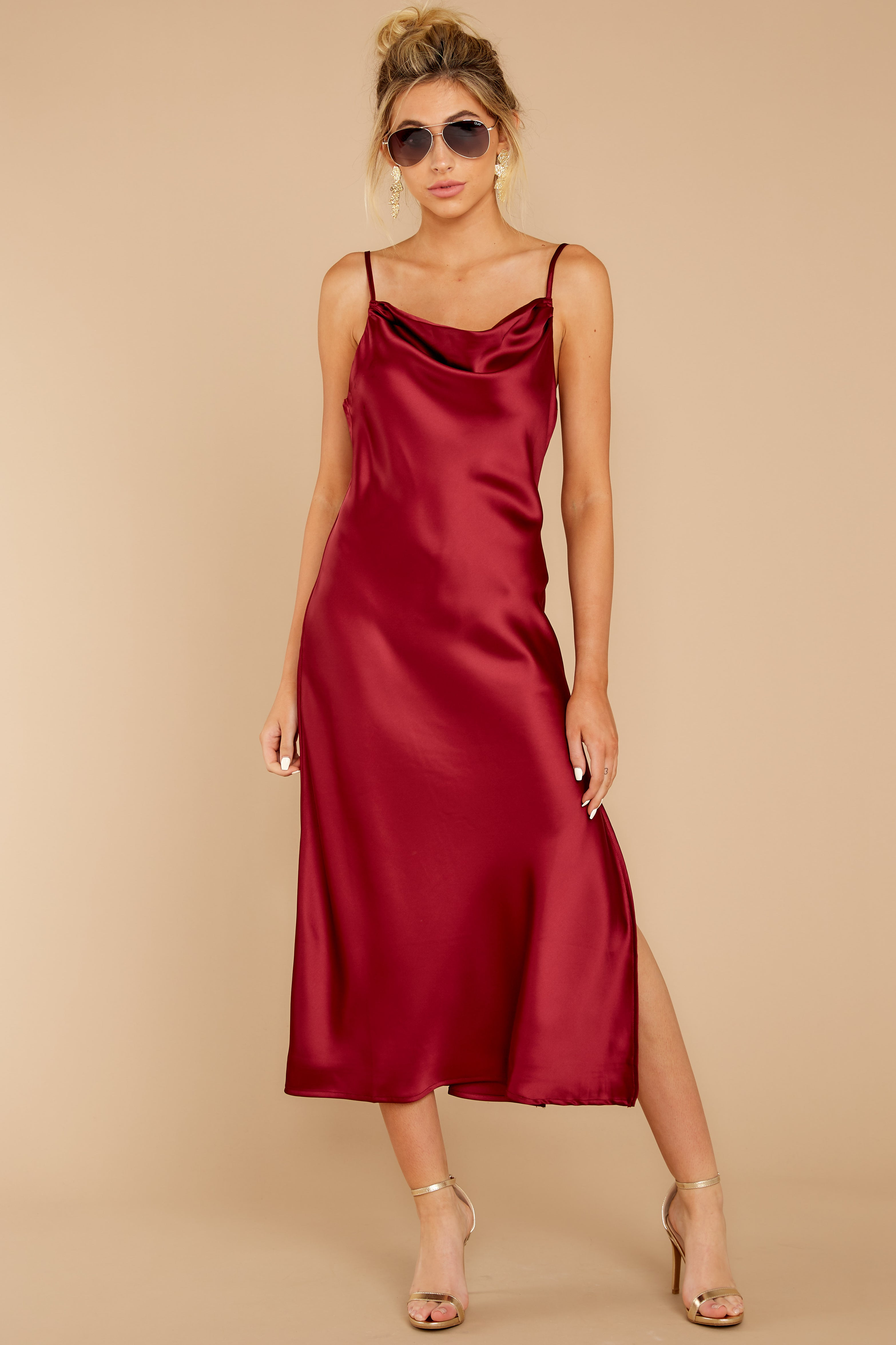 Just One Look Ruby Red Midi Dress