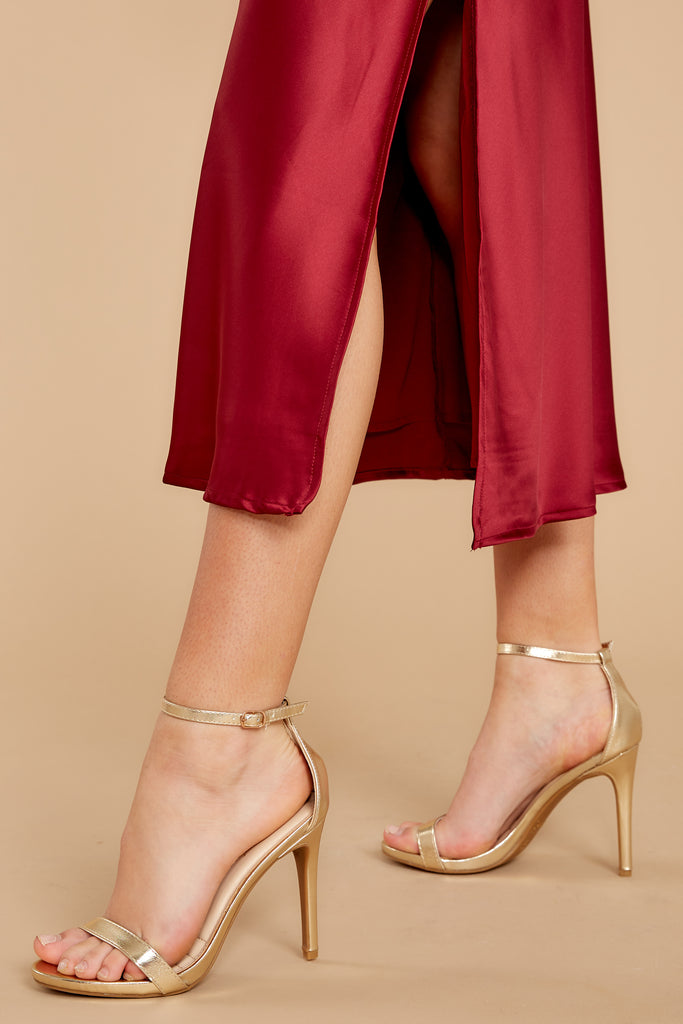 1 Plans To Dance Gold Ankle Strap Heels at reddress.com