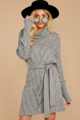 6 Ready Willing And Cable Grey Sweater Dress at reddressboutique.com