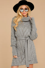 7 Ready Willing And Cable Grey Sweater Dress at reddressboutique.com
