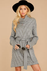 5 Ready Willing And Cable Grey Sweater Dress at reddressboutique.com