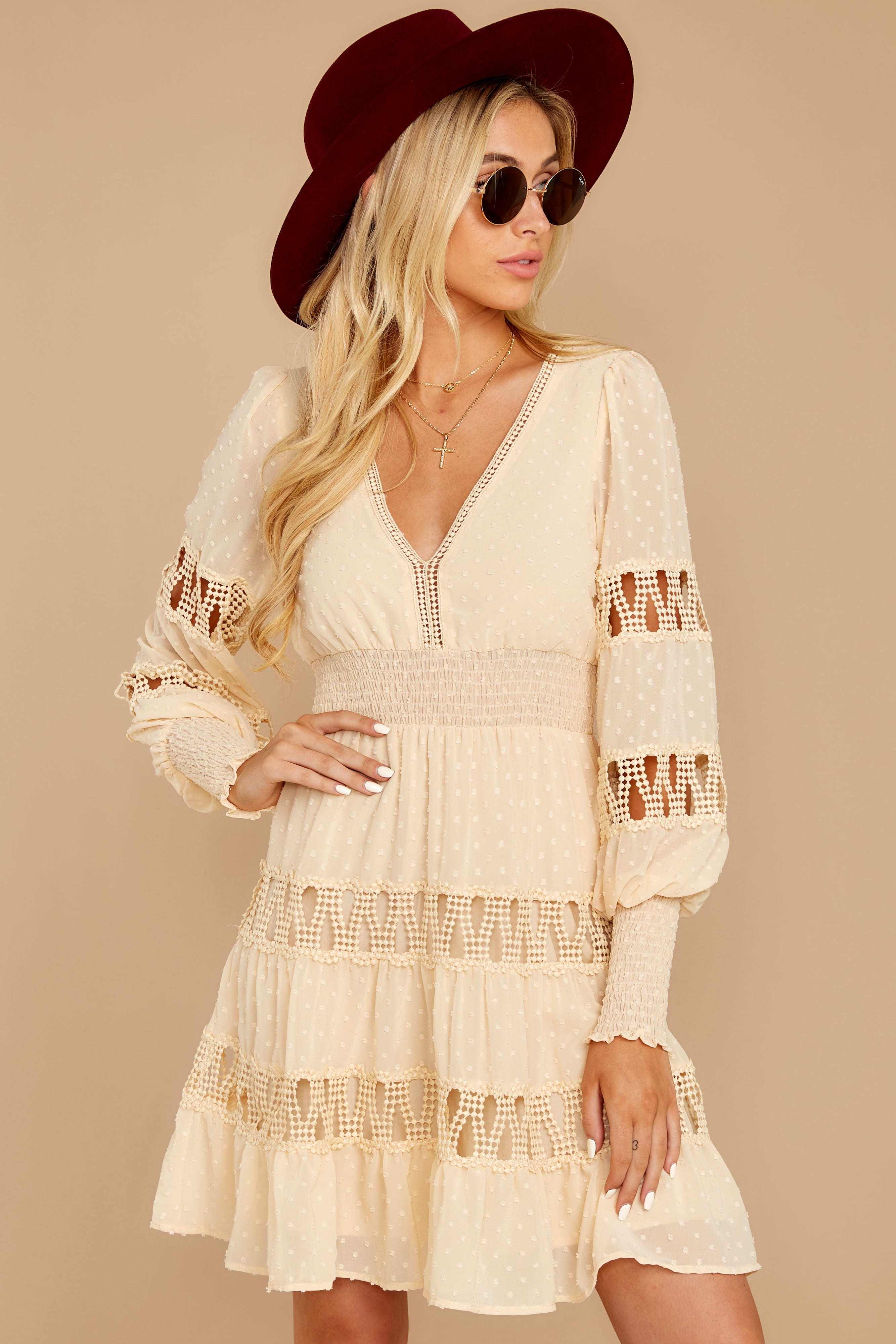 5 Of Romance And Lace Cream Dress at reddressboutique.com