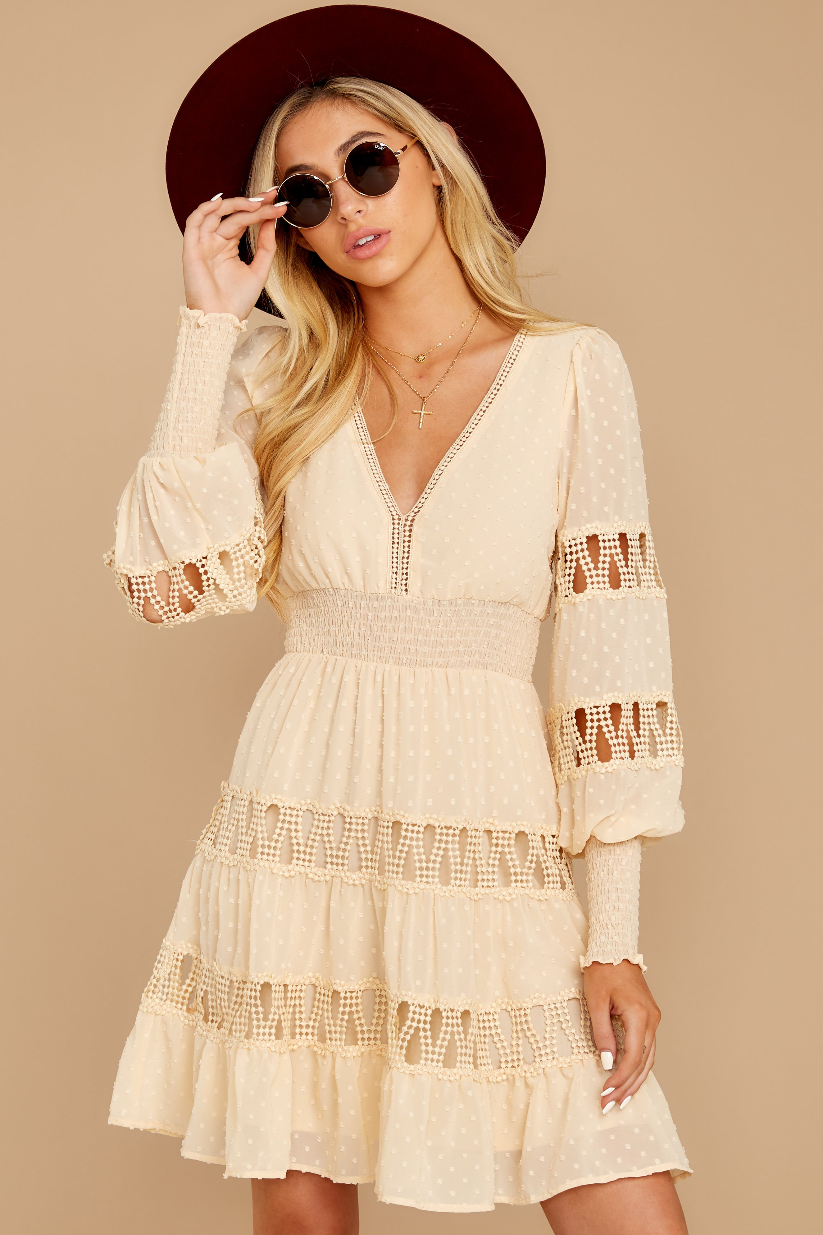6 Of Romance And Lace Cream Dress at reddressboutique.com