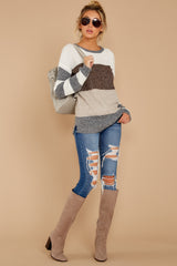 1 Moving Along Grey Multi Stripe Sweater at reddressboutique.com