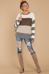 2 Moving Along Grey Multi Stripe Sweater at reddressboutique.com