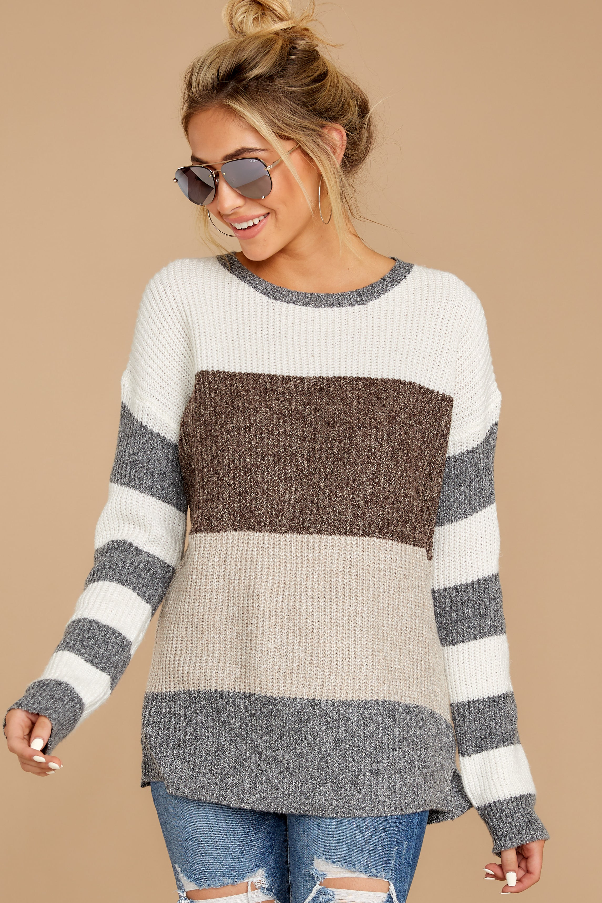 4 Moving Along Grey Multi Stripe Sweater at reddressboutique.com