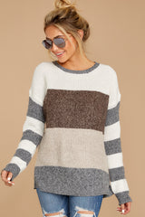 4 Moving Along Grey Multi Stripe Sweater at reddress.com