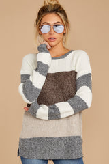 5 Moving Along Grey Multi Stripe Sweater at reddressboutique.com