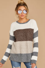 7 Moving Along Grey Multi Stripe Sweater at reddressboutique.com