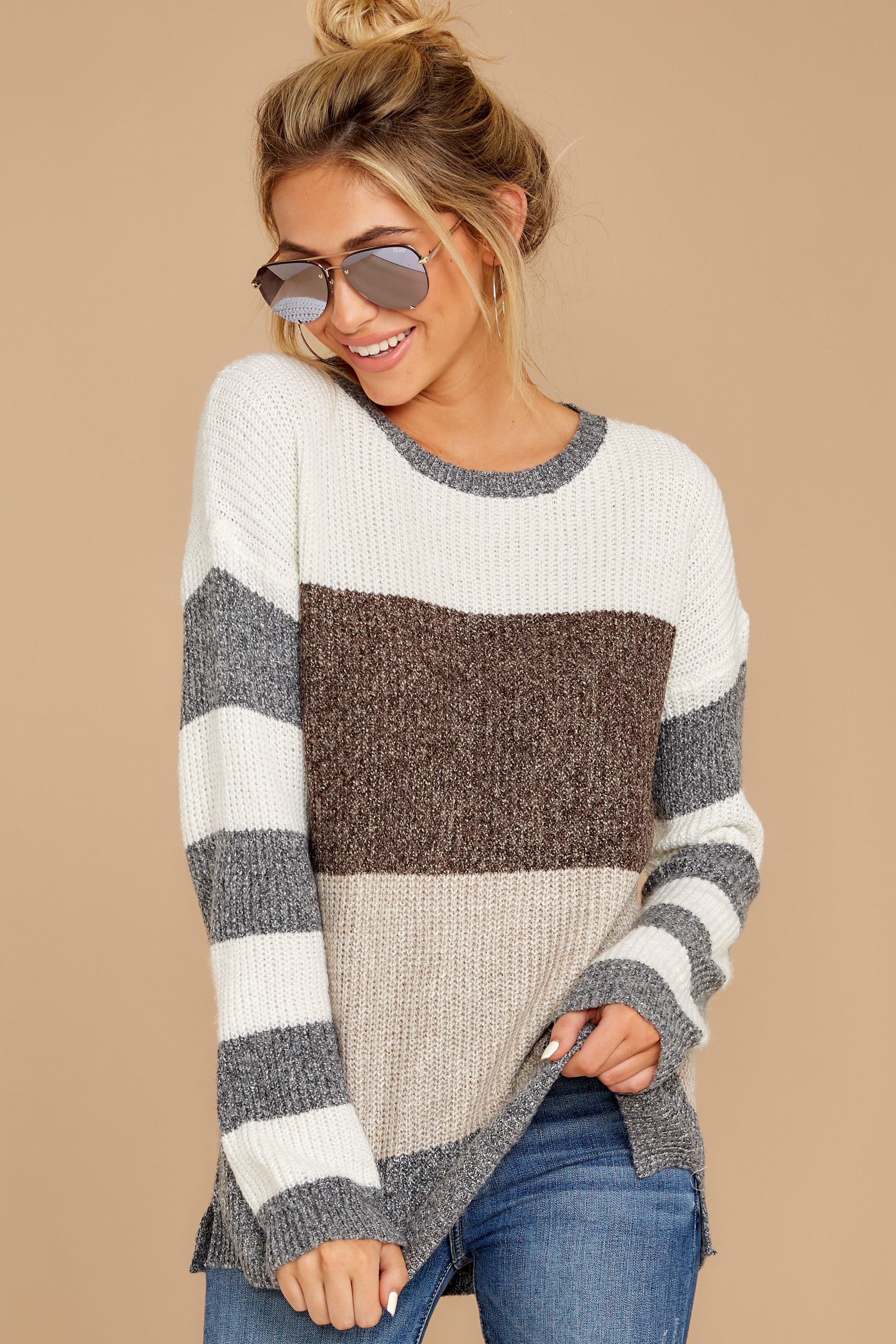 6 Moving Along Grey Multi Stripe Sweater at reddressboutique.com