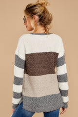 8 Moving Along Grey Multi Stripe Sweater at reddressboutique.com