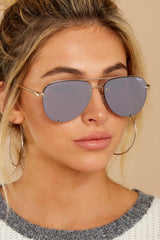 1 High Key Mini Rimless Gold Lilac Sunglasses at Reddressboutique.com