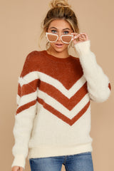 5 Here For It Rust And Ivory Eyelash Sweater at reddress.com