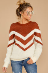 6 Here For It Rust And Ivory Eyelash Sweater at reddress.com