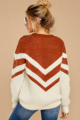 8 Here For It Rust And Ivory Eyelash Sweater at reddress.com