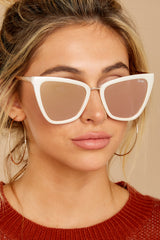 1 Reina Pearl Rose Mirror Sunglasses at reddressboutique.com