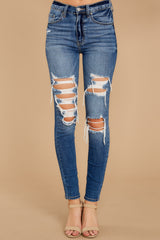 2 Be Melodramatic Medium Wash Distressed Skinny Jeans at reddressboutique.com