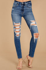 1 Be Melodramatic Medium Wash Distressed Skinny Jeans at reddressboutique.com