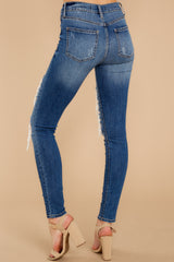 3 Be Melodramatic Medium Wash Distressed Skinny Jeans at reddressboutique.com