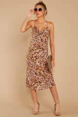 1 Caught Your Eye Brown Multi Print Midi Dress at reddressboutique.com