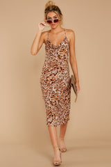 2 Caught Your Eye Brown Multi Print Midi Dress at reddressboutique.com