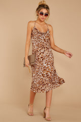 3 Caught Your Eye Brown Multi Print Midi Dress at reddressboutique.com