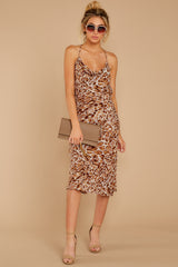 4 Caught Your Eye Brown Multi Print Midi Dress at reddressboutique.com