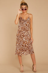 5 Caught Your Eye Brown Multi Print Midi Dress at reddressboutique.com