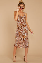 6 Caught Your Eye Brown Multi Print Midi Dress at reddressboutique.com