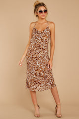 7 Caught Your Eye Brown Multi Print Midi Dress at reddressboutique.com